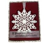 Albi Vánoční ornament s krystaly Swarovski na zavěšení s popisem - K Vánocům pro nejlepší paní učitelku, cca 7 x 8 cm
