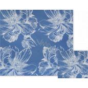 Nekupto Dárkový balicí papír 70 x 150 cm Modrý s bílými květy