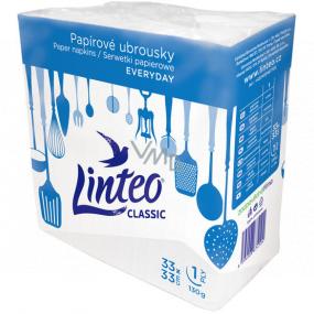 Linteo Classic bílé papírové ubrousky 1 vrstvé 33 x 33 cm 100 kusů