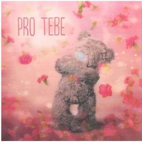 Albi Me To You Blahopřání do obálky 3D Pro tebe, z lásky, Medvídek s padajícími květy,15,5 x 15,5 cm