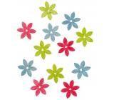 Dřevěné květy zelená, růžová, modrá 4 cm 12 kusů