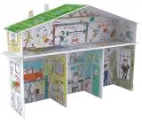 Monumi Domeček XXL pro chlapce skládačka k vymalování pro děti 5+ výška 67,5 x 52,2 x 18 cm
