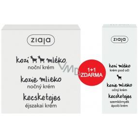 Ziaja Kozí mléko noční krém pro suchou pleť s vrásky 50 ml + oční krém 15 ml, duopack