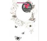 Ditipo Dárková papírová taška Kreativ bílá kruh květy a motýli 22 x 28,7 x 10 cm