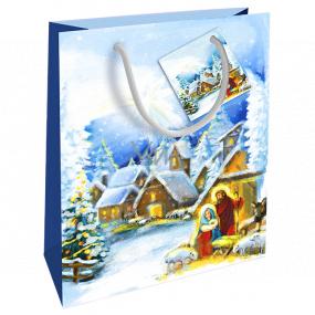 Nekupto Dárková papírová taška 23 x 18 x 10 cm Vánoční zimní krajina Betlém WBM 1938 40