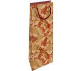 Nekupto Dárková kraftová taška na láhev 15 x 40 cm Vánoční zasněžené domečky 618 WHLH