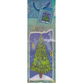 Alvarak Dárková papírová taška na láhev 33 x 10,5 x 9 cm modrá se stromkem 1 kus