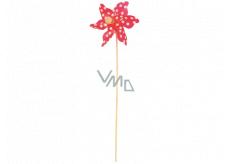 Větrník s velkými puntíky červený 9 cm + špejle 1 kus