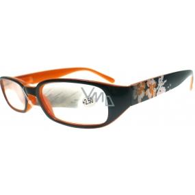 Berkeley Čtecí dioptrické brýle +2,50 černooranžové s kytkama 1 kus MC 2103