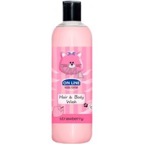 On Line Kids Time Jahoda 2v1 sprchový gel a šampon na vlasy pro děti 500 ml