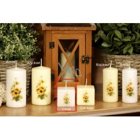 Lima Žlutý květ vonná svíčka bílá s obtiskem krychle 45 x 45 mm 1 kus