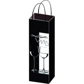 Taška celoroční na lahev F černá se sklenicemi 36 x 12 x 9 cm 04