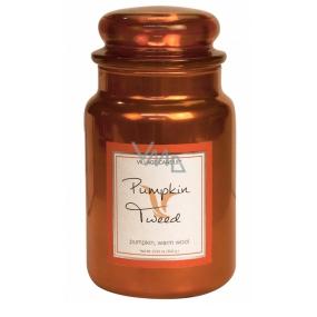 Village Candle Hřejivá dýně - Pumpkin Tweed vonná svíčka ve skle 2 knoty 602 g