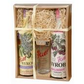 Kitl Syrob Bio Bezový květ sirup 500 ml + Malinový s dužinou sirup pro domácí limonády 500 ml + sklenička 200 ml, dárkové balení