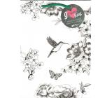Ditipo Dárková papírová taška Kreativ bílá kolibřík květy-zelené ucho 21,8 x 29 x 10 cm