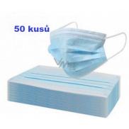 Rouška 3 vrstvá ochranná zdravotní netkaná jednorázová, nízký dýchací odpor 50 kusů