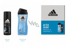 Adidas After Sport deodorant sprej pro muže 150 ml + 3v1 sprchový gel na tělo, vlasy a tvář 250 ml, kosmetická sada