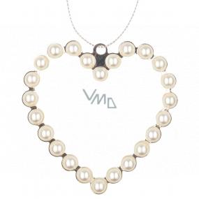 Srdce kovové závěsné s perlami 9 cm