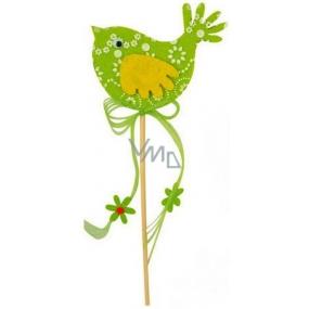 Ptáček z filcu zelený-bílý dekor zápich 7cm + špejle