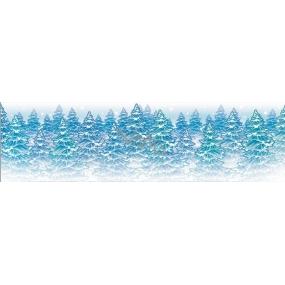 Room Decor Okenní fólie bez lepidla malý pruh z ledové kolekce stromky 45 x 12 cm