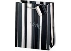 BSB Dárková papírová taška střední 23 x 19 x 9 cm Černo-bílé pruhy LDT 253-A5