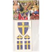 Arch Tetovací obtisky na obličej i tělo Švédsko vlajka 3 motivy