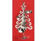 Svícen kovový stříbrný strom, 20 cm, na 3 čajové svíčky