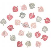 Listy dřevěné šedé a růžové 2 cm 24 kusů