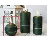 Lima Sparkling svíčka zelená matná koule 80 mm 1 kus