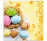 Aha Velikonoční papírové ubrousky 3 vrstvé 33 x 33 cm 20 kusů žluté, ošatka s vajíčky