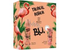 B.U. Tropical Passion tělový sprej pro ženy 200 ml + tělové mléko 50 ml, kosmetická sada