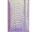 Albi Blok holografický linkovaný na gumičku Modro-stříbrný 14 x 9 x 1,5 cm