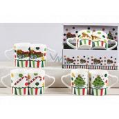 Vánoční keramický hrnek design mix Dárky, Stromek, Čepička, Christmas Candy 340 ml 2 kusy v krabičce