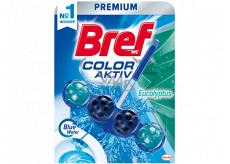Bref Blue Water Color Aktiv Eucalyptus WC blok pro hygienickou čistotu a svěžest Vaší toalety, obarvuje vodu do modrého odstínu 50 g