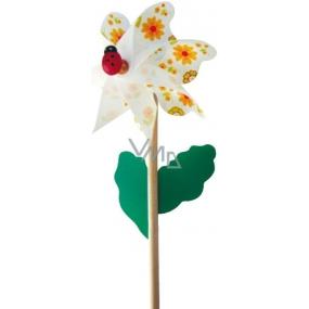 Větrník s beruškou oranžový 14 cm + tyčka 1 kus