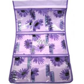 Kapsář do koupelny závěsný 674 fialový 30 x 60 cm 9 kapes