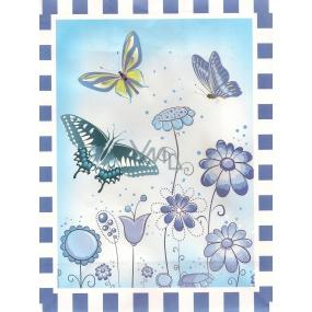 Nekupto Dárková kraftová taška střední 24 x 18 x 8 cm Modré květy, motýli, 305 KKM