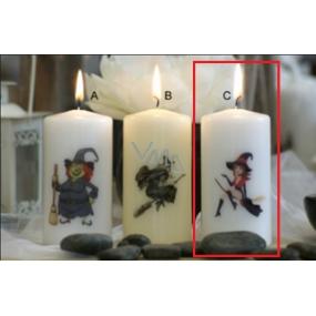 Lima Čarodějnice červenočerná svíčka s potiskem válec bílá 50 x 100 mm 1 kus