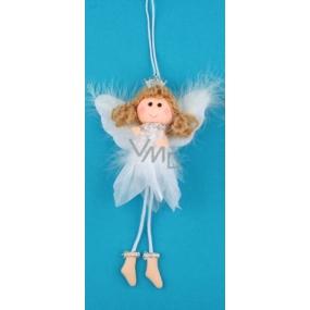 Anděl bílý s peřím, korunkou a vločkou na zavěšení č.2 19 cm