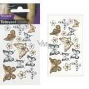Tetovací obtisky zlaté a stříbrné motýli 10,5 x 6 cm