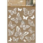 Room Decor Samolepky na zeď bílí motýli s glitry 41 x 28 cm