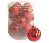 Sada skleněných baněk červených 5,7 cm, 12 ks