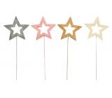 Hvězda dřevěná zápich 8 cm + drátek 1 kus