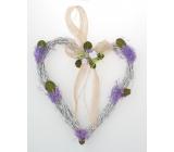 Srdce proutěné s levandulí k zavěšení 21 cm