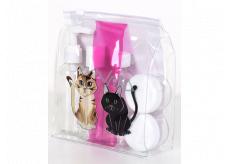 Albi Original Cestovní sada lahviček 3 x 80 ml + 2 nádobky + Kočka pouzdro - 15 cm x 15 cm x 4,5 cm
