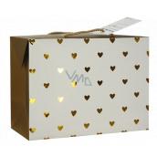 Anděl Taška dárková krabice, uzavíratelná, se zlatými srdíčky 18 x 12 x 9 cm
