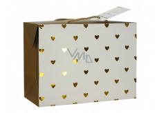 Anděl Dárková papírová taška krabice 18 x 12 x 9 cm uzavíratelná, se zlatými srdíčky