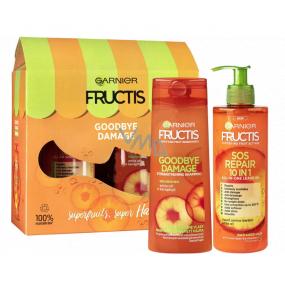 Garnier Fructis Goodbye Damage šampon na vlasy 250 ml + SOS repair 10v1 bezoplachová péče 400 ml, kosmetická sada