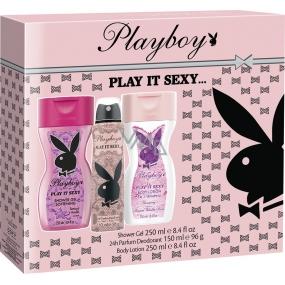 Playboy Play It Sexy deodorant sprej pro ženy 150 ml + tělové mléko 250 ml + sprchový gel 250 ml, kosmetická sada