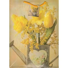 Nekupto Dárková papírová taška velká 32,5 x 26 x 13 cm žluté narcisy a tulipán 1 kus 1098 01 KFL